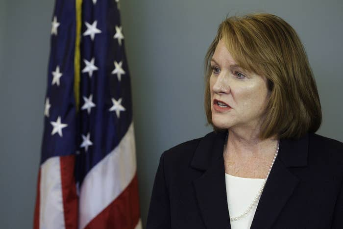 U.S. Attorney Jenny Durkan speaks during a news conference in Seattle.