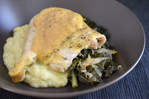 Cook your chicken atop a bed of vegetables, spices, and stock, then use an immersion blender to turn that delicious bird bed into gravy, no starchy thickener necessary. Recipe here.