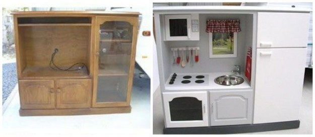 Transform an old entertainment center into a kid's dream play kitchen.