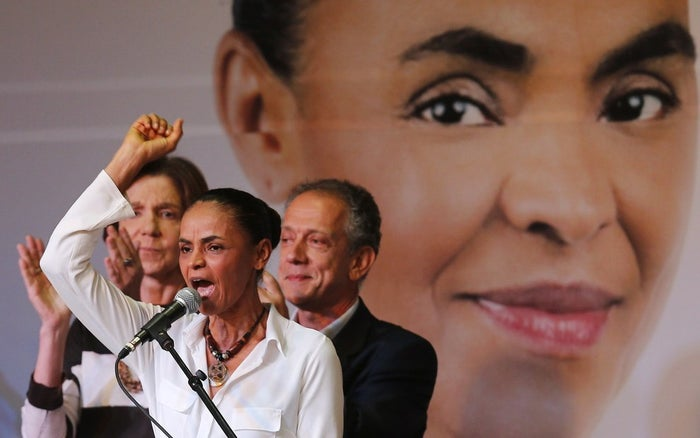 Brazilian presidential candidate Marina Silva speaks at the launch of her campaign platform in São Paulo on Aug. 29.