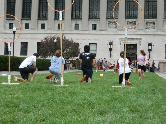 Find Quidditch rules for Muggles here, or just run around throwing things until everyone is tired.