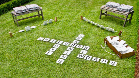 Scrabble loving kids will go crazy for this outdoor word game.