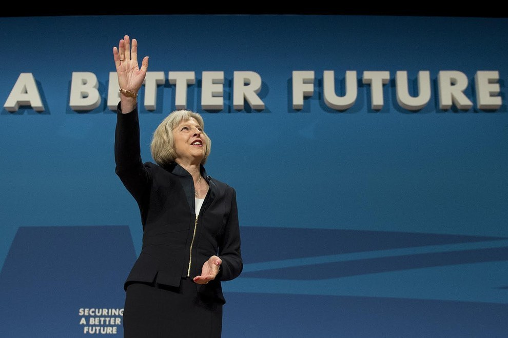 "Home secretary Theresa May finished her speech to the Conservative party conference by holding her hand up to the audience. Unfortunately, in the process she accidentally rewrote the Conservatives' ""Better Future"" slogan."