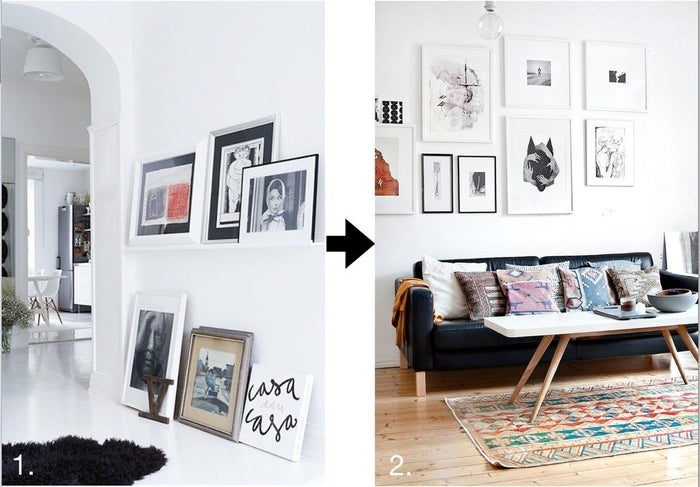 Ok, so image number 1 is pretty amazing, but you're not fooling us—not even our apartment looks that chic. Leaning framed pieces from the floor can look great, but often times this kind of thing can just weigh down your space and accentuate those very sad bare walls. Let's get your pieces framed, off the floor and onto your walls.