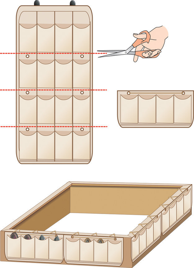 Diagram demonstrating how to cut up a shoe organizer and attaching it to the bottom of a bed