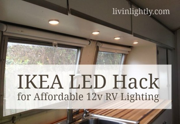 Lighting in an RV created with IKEA LEDs