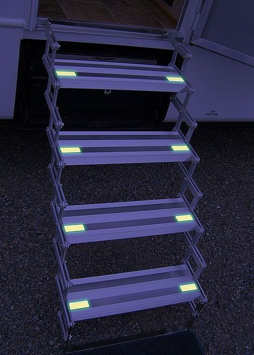 Stairs leading up to an RV with glow-in-the-dark tape