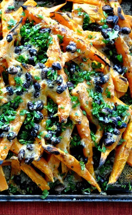 "Sweet Potato ""Nachos"" With Cheddar and Black Beans"