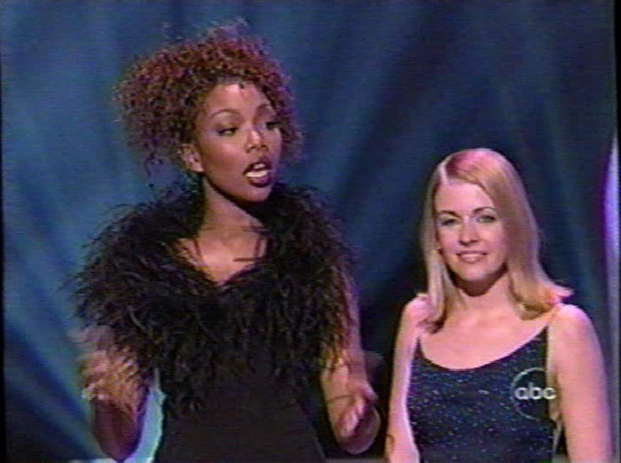"""Brandy was starring in Moesha, had a hit single (""""Have You Ever?""""), and was about to star in ABC's revitalization of the Wonderful World of Disney starring herself and Whitney Houston. Oh, she also starred in this AWESOME Movie of the Week with Diana Ross called """"Double Platinum."""" The movie's amazing. And because the show's on ABC, they thought Sabrina the Teenage Witch was an appropriate co-host. She was."""
