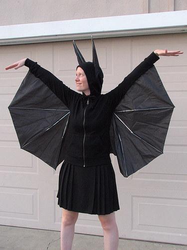 Cut up a cheap umbrella to create bat wings.