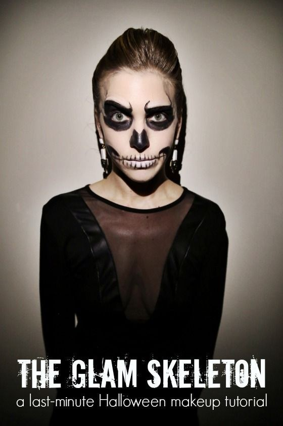 If you've already got a glamorous all-black wardrobe, become a glam skeleton with just a little face paint.