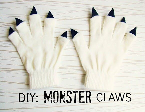 Live in a cold climate? Transform an old pair of gloves into monster claws.