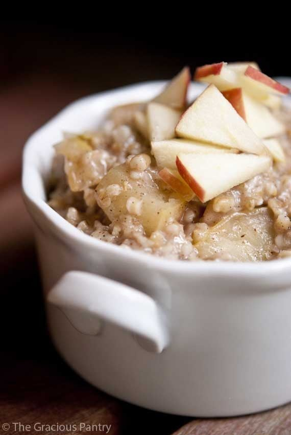 Oats are an excellent source of soluble fiber, and adding apples means you get even more. Recipe here.