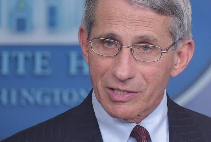 Dr. Anthony Fauci during a briefing on Oct. 3.