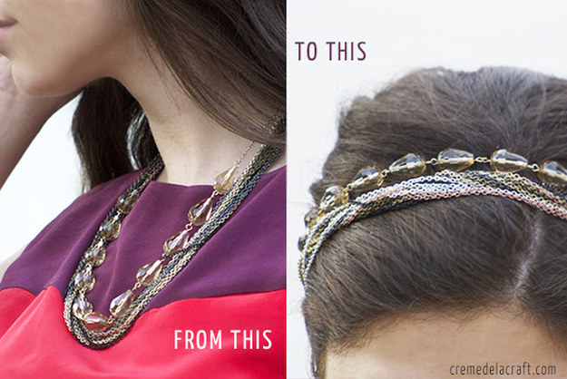 Turn your necklace into a headband by adding an elastic hair tie.