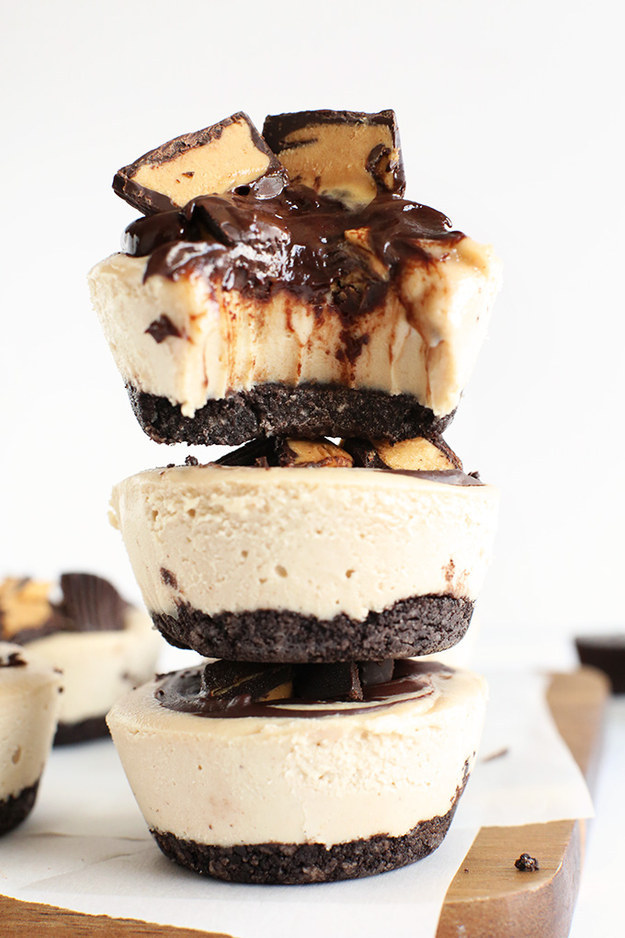 No Bake Vegan Peanut Butter Cup Cheesecakes