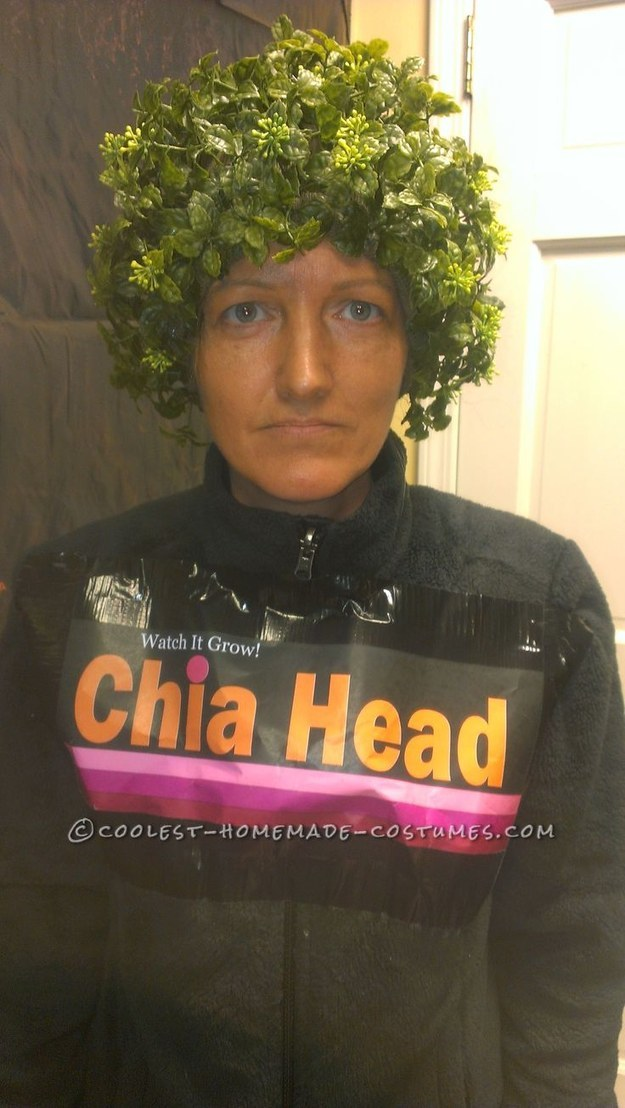 Last-Minute Original Chia Head Costume. Coolest Homemade Costumes (Last Minutes Makeup) Find this Pin and more on Chia Heads by *Kathy Wilson. I have always wanted my kids to do this Chia head costume for Halloween and they never would. My office had a Halloween party and I was going as a wit.