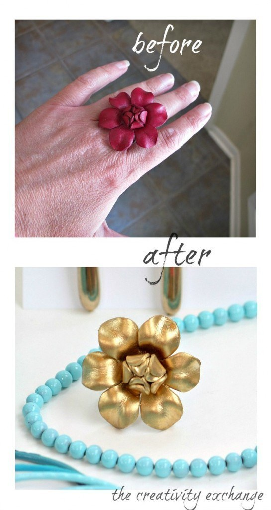 Transform boring jewelry with colored enamel spray.