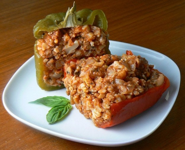 Traditionally, stuffed peppers are made with ground beef and rice. These are made with sausage meat and cauliflower instead, to a much more flavorful end. Recipe here.