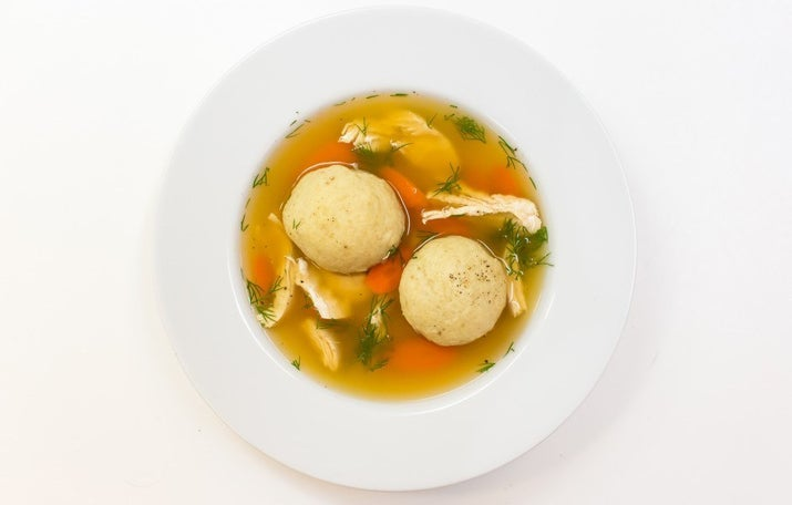 There are few foods as perfect as these delicious little carbohydrate balls drenched in chicken soup. Matzo ball purists swear by the importance of schmaltz, aka chicken fat, in making the balls, but non-meat eaters (and less intense cooks) can definitely get by without it. Classic recipe available here, vegetarian version here, vegan and gluten-free versions here, but whatever you do, just don't buy it in a jar off the shelf in the supermarket. (Gondi, the Persian chicken and chickpea balls, are often compared to matzo balls and duh, they're also delicious.)