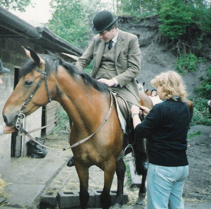Lord Sudeley, a candidate in today's hereditary by-election, goes for a jolly ride on a horse.