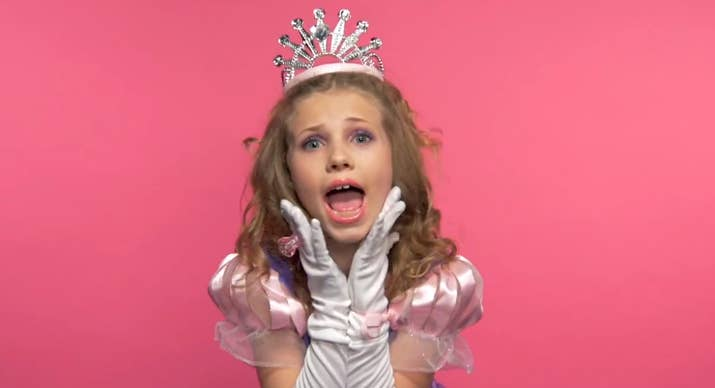 The girls are dressed as princesses, but once they open their mouths it's  pretty clear they're anything but: