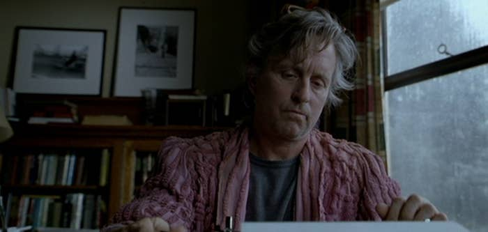Michael Douglas as Grady Tripp in the 2000 film adaptation of the novel The Wonder Boys. Grady is on page 2,611 of his second novel.