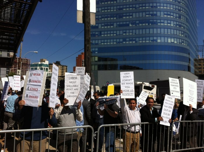 Uber Drivers Network of NYC protest outside of the LIC offices in September.