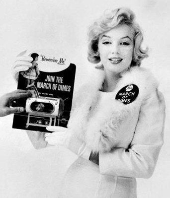 She famously performed for soldiers in Korea, but Marilyn did a lot of charitable works. In 1952 she sidetracked a publicity tour to visit an orphanage and a children's hospital. She performed at many benefits: for St. Jude's Hospital in 1953, as a model in a 1958 March of Dimes fundraiser, and in 1955 rode around Madison Square Garden on an elephant that had been painted pink to help the Arthritis and Rheumatism Benefit. She donated her earnings from the world premiere of The Prince And The Showgirl to the Milk Fund For Babies in 1957. While visiting a Mexican orphanage in 1962 she initially wrote a check for $1,000, then tore it up and wrote a new one for $10,000. Her last public appearance was for a benefit for muscular dystrophy. Marilyn even provided for charity after her death- 25% of her estate's earnings go to the Anna Freud Center, a psychiatric clinic for children.