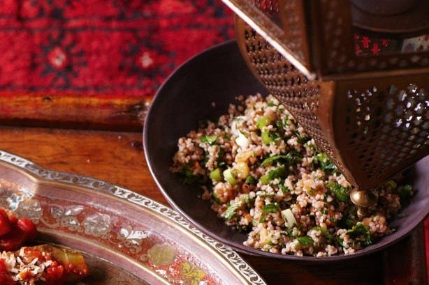 This vegetarian, Syrian tabbouleh-like dish is best when made in advance so that the flavors can blend and mellow out from the original sharpness. It's a sweet and savory bulgur salad, usually made with pomegranate molasses, walnuts, and lots of spices. Make it Saturday morning, serve it for lunch a few hours later. Recipe here.