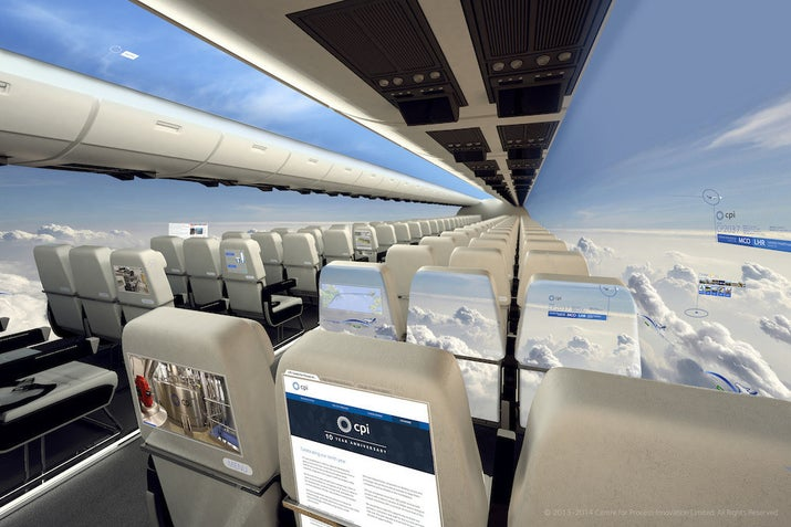 The concept design is the work of the Teesside-based Centre for Process Innovation (CPI).The Guardian reported that it would see the windows replaced with full-length OLED screens displaying panoramic views captured by cameras mounted on the plane's exterior, as well as providing in-flight entertainment and internet access.