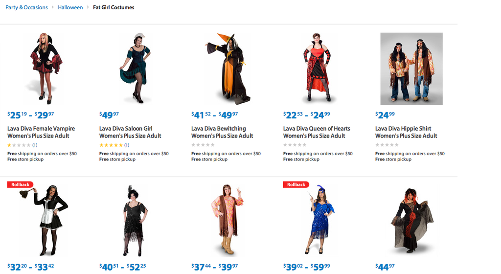 "Walmart Apologizes For ""Fat Girl Costumes"" Section On Website"