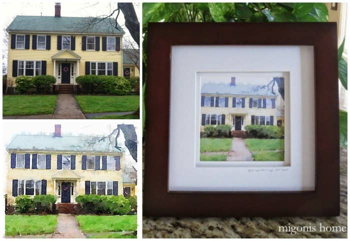 1 A Framed Watercolor Painting Of Their Childhood Home