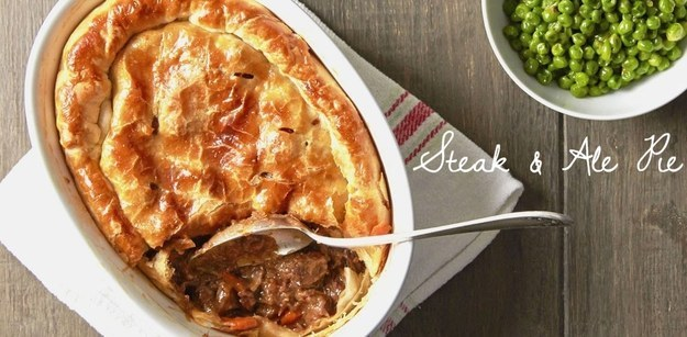 Flavorful steak and ale pie.