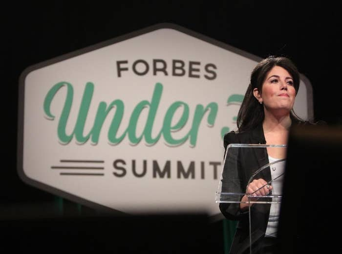 "Monica Lewinsky speaks at the Forbes ""30 Under 30"" summit earlier this month."