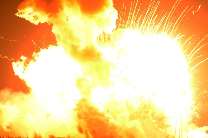 An unmanned Antares rocket explodes Tuesday afternoon in Virginia.