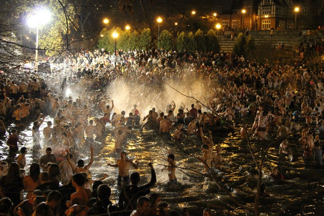 Thousands of students jump into the lake the night before the infamous Ohio State-Michigan game.