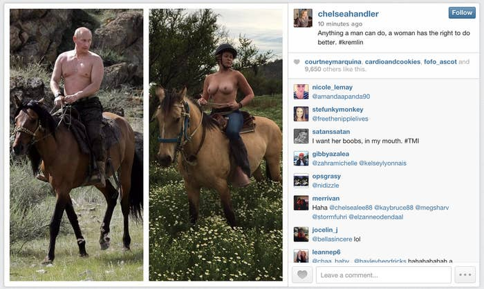 Chelsea Handler Mocks Vladimir Putin With Topless Horseback Photo