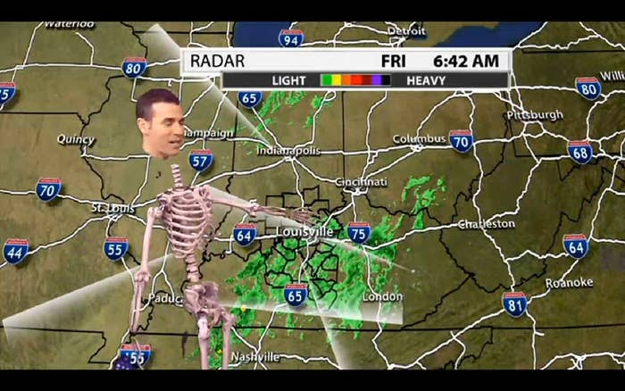 A Weatherman Green-Screened Himself Into A Skeleton And Oh My God