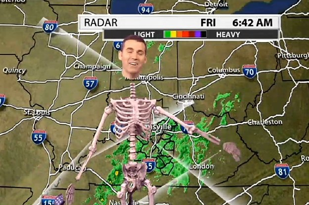 a weatherman green screened himself into a skeleton and oh my god you need to see it - Meteorologist Halloween Costume