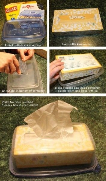 Tissue box inside of a tupperware to keep it from getting wet