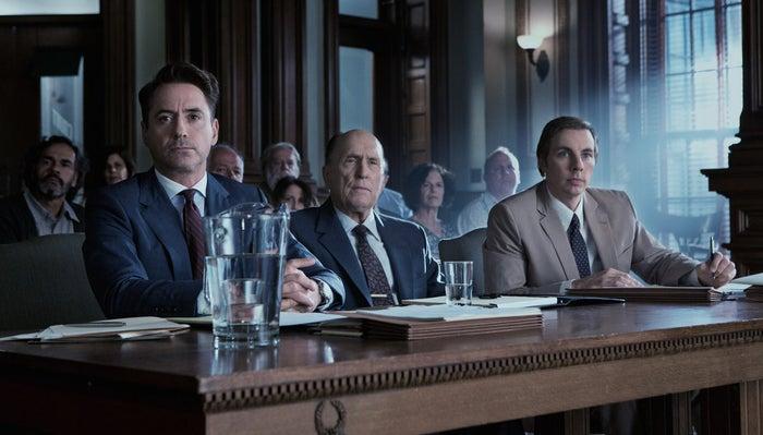 Robert Downey Jr., Robert Duvall, and Dax Shepard in The Judge