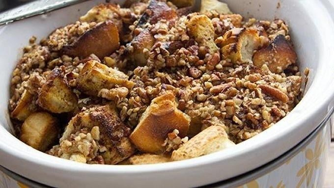 Cinnamon, brown sugar, syrup, nuts and most importantly, bread. What could go wrong? Click here for recipe.