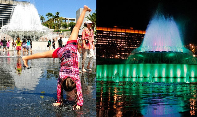 Come play in the water on a warm sunny day in LA, or come at night and be awed by the wonderful color changing fountain.