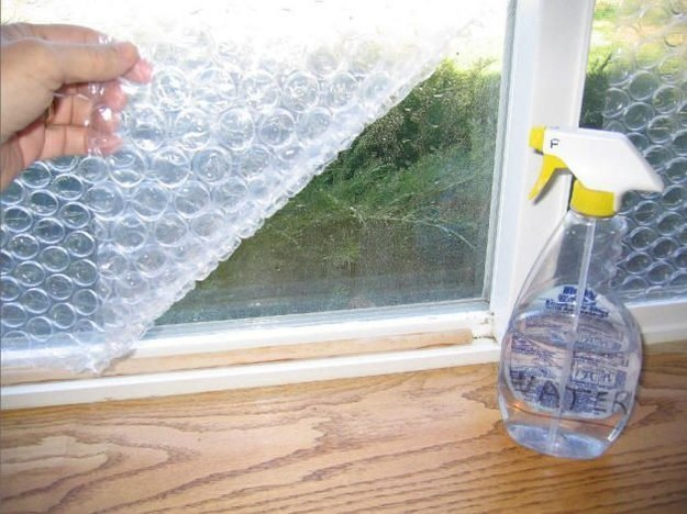 Bubble wrap attached to RV/van windows to insulate in cold climates