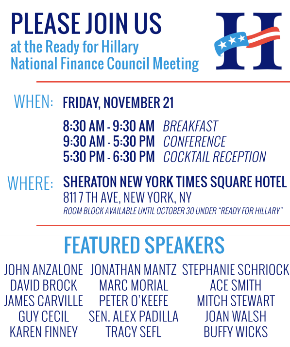 The invitation for this year's Ready for Hillary National Finance Council meeting