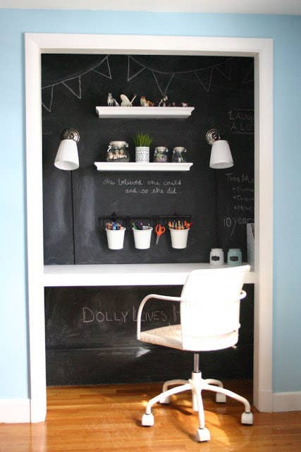 Apply a coat of chalkboard paint to closet walls for a distration-free space. If your child needs help with their homework, use some chalk to work out the problem. Get the tutorial here.