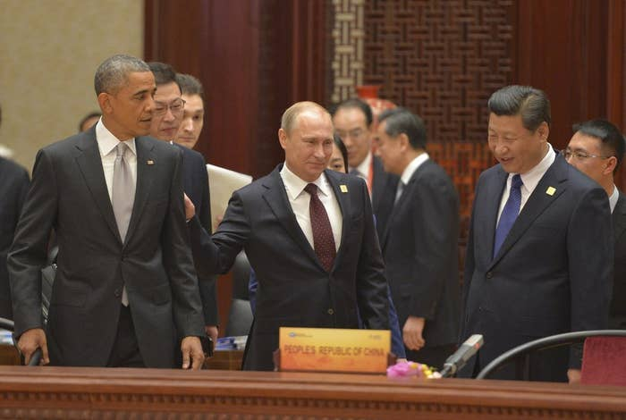 Here, former President Barack Obama prepares to discuss the idea of personal space with Russian President Vladimir Putin