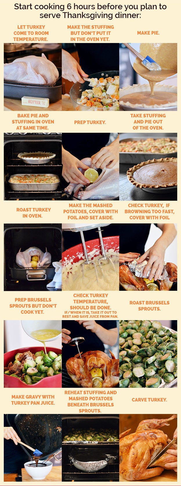 To do this, get your recipes printed out then go through them and figure out what order everything needs to happen in.