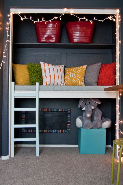 To Maximize A Tiny Playroom, Turn The Closet Into A Couch For Kids To Play